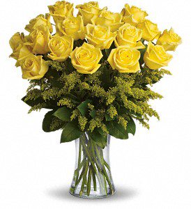 ROSY GLOW yellow 18 ROSES VASED