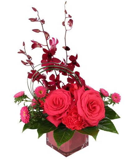 Rosy Orchids & Asters Flower Arrangement