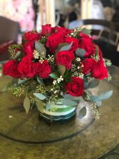 Rosy Red Cluster Glass Cylinder Vase