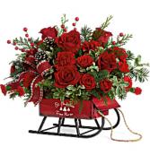 Rosy Sleigh Bouquet Fresh Arrangement
