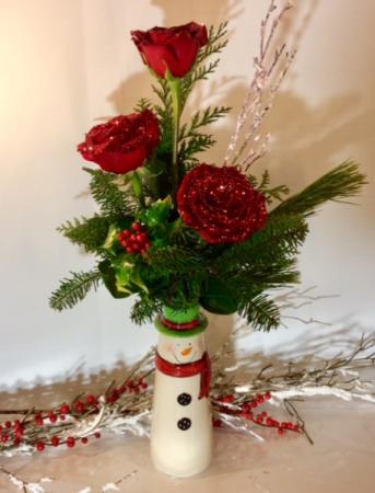 Rosy Snowman Bud Vase