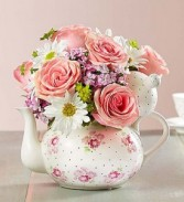 Rosy Tea Party Keepsake  Tea Pot