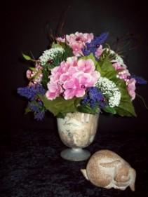 Round Compote Silk Flower Arrangement