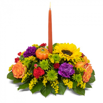 round single candle centerpiece fall/ thanksgiving