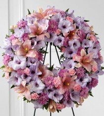 Round Wreath  Mauve and Pinks flowers