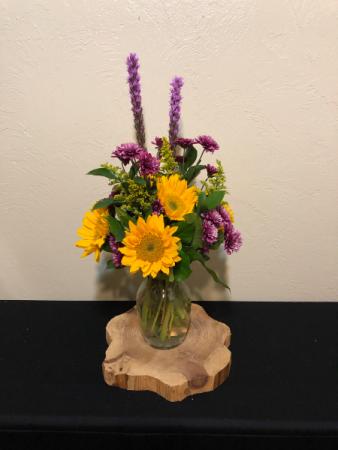 Round the Sun-flowers All Around Vase Arrangement