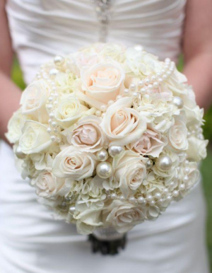 Round Wedding Bouquet Featuring