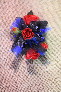 Royal Blue and Red Chic Corsage and Boutonniere