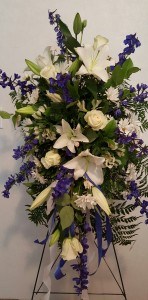 Royal Blue and White Standing Spray
