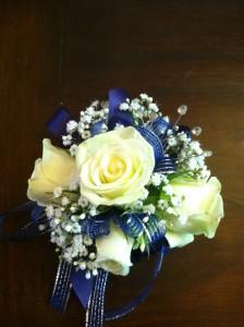 Royal Blue and White Wristlet Corsage