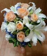 Royal Blue Peach and White Bridal bouquet Hand-Tied Bridal Bouquet