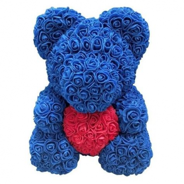 Royal Blue Rose bear with Red Heart