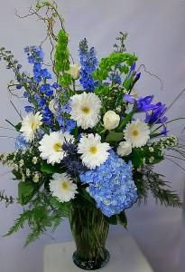 Royal blue skies  Vase arrangement  in Chatham, NJ | SUNNYWOODS FLORIST