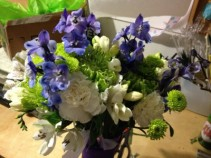 Royal Blue, White and Green  hand tied bouquet