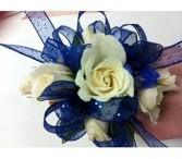Royal blue & White corsage