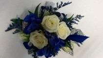Royal blue & White Wrist corsage