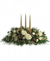 Royal Christmas Centerpiece Golden trimmings in Granville, NY | The Florist at Mandy's Spring