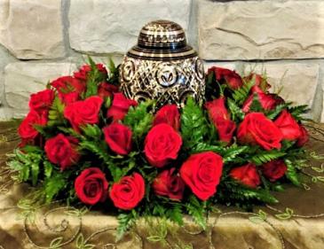 Royal in Red Urn Sympathy Wreath