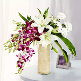 Royal lily orchid arrangement Valentine vase arrangement
