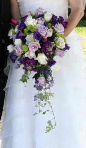 Royal Purple Cascade Wedding in Hutchinson, MN | CROW RIVER FLORAL & GIFTS