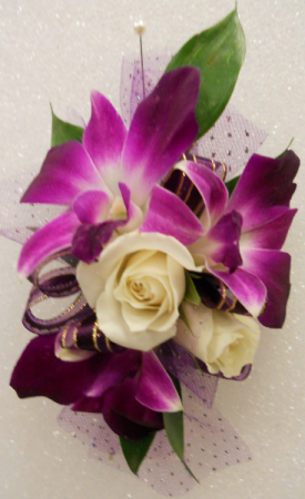 Royal Purple Elegance Wristlet-Corsage