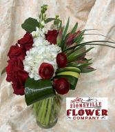 Royal Red and White Vased Arrangement