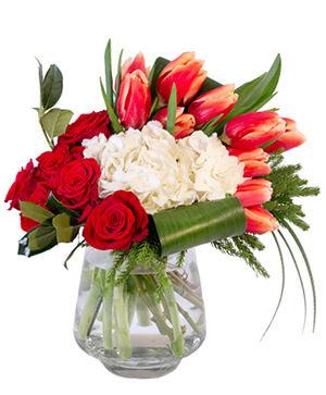 Royal Red & White Floral Arrangement in Bethel, CT | BETHEL FLOWER MARKET OF STONY HILL