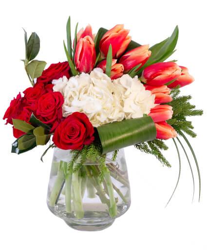 Royal Red & White Floral Arrangement