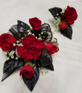 Royal Red Wrist corsage and boutonniere