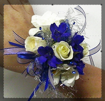 royalty in blue wrist corsage