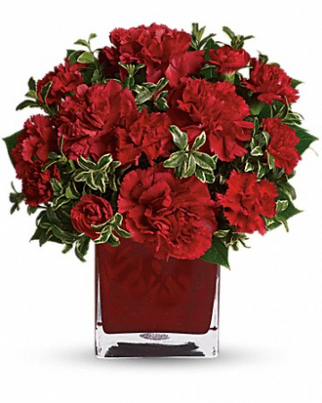 Ruby carnations in cube Fresh Flowers