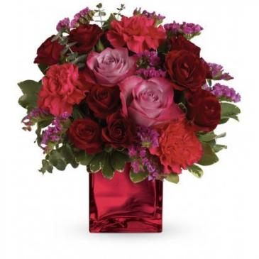 Ruby Rapture Bouquet Cube Arrangement