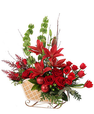 Ruby Red Sleigh Floral Design in Lompoc, CA | BELLA FLORIST AND GIFTS