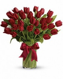 Ruby Red Tulips vase