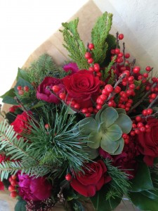 Ruby Red Winter Handtied Bouquet