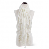 Ruffed Knit Scarf- White