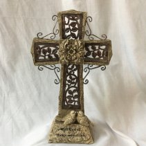 Rugged Cross Keepsake Surround with flowers