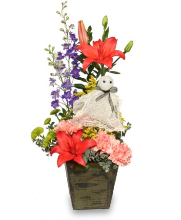 spook tacular flowers halloween arrangement