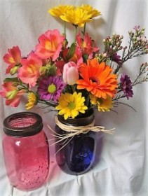 """RUSH OF COLOR""...BRIGHT FLOWERS   ARRANGED IN A BRIGHT MASON JAR WITH RAFFIA RIBBON!!"