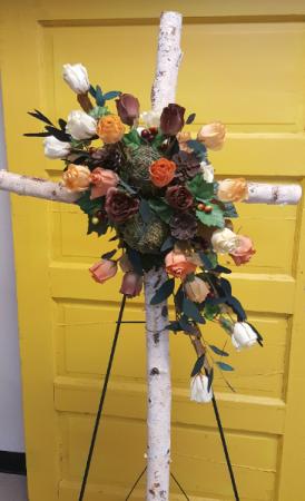 Rustic Birch Cross Standing Spray Silk Standing Spray in Brenham, TX | Sunny Day Blossoms Design Studio