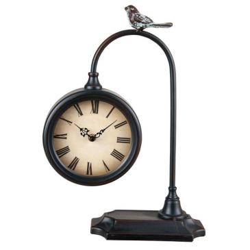 Rustic Bird Metal Battery Operated Table Clock