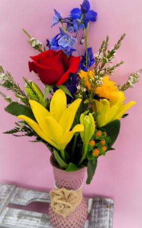 Rustic Burlap Rose Spring Arrangement