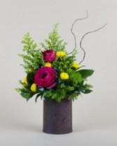 Rustic Can Rustic Can with Spring Flowers
