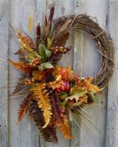 Rustic Charm Wreath Faux Flowers on Grapevine