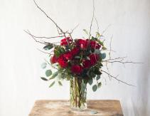 Rustic Christmas rose Vase arrangement