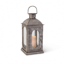Rustic gray metal lantern with candle All occassion