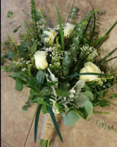 Rustic Greenery and Roses  Bridal Bouquet