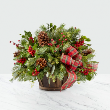 Rustic Holiday Wooden Basket Bouquet