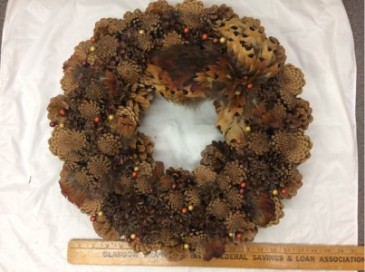 Rustic Pheasant Feather and Pinecone Wreath Artificial