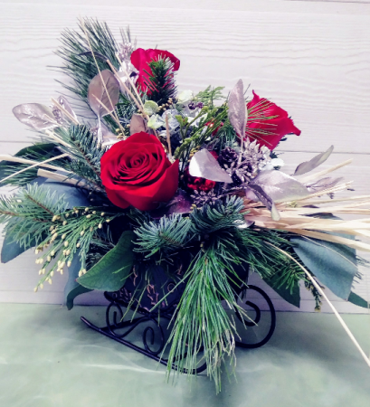 Rustic Sleigh with Flowers